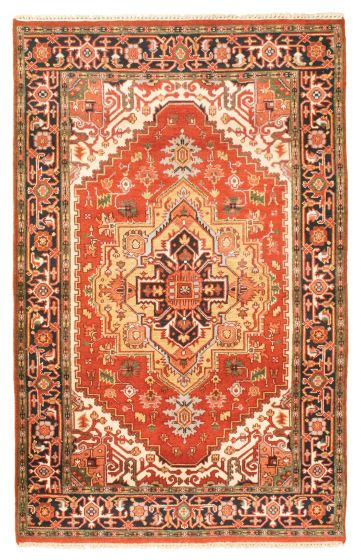 Bordered  Traditional Red Area rug 5x8 Indian Hand-knotted 344832