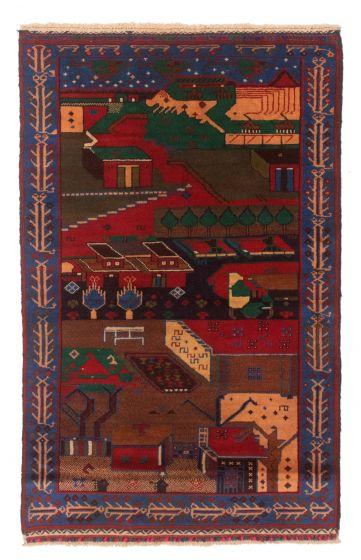 Bordered  Tribal Blue Runner rug 5-ft-runner Afghan Hand-knotted 348590
