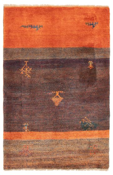 Gabbeh  Tribal Blue Area rug 4x6 Persian Hand-knotted 358582