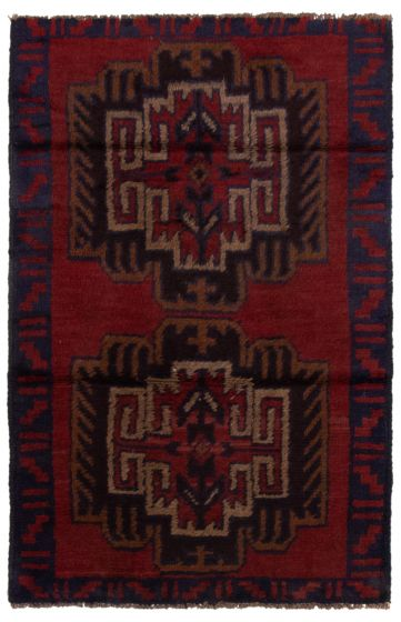 Bordered  Tribal Red Area rug 3x5 Afghan Hand-knotted 360573