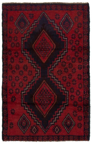 Bordered  Tribal Red Area rug 3x5 Afghan Hand-knotted 360581