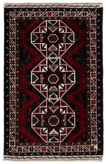 Bordered  Tribal Red Area rug 3x5 Afghan Hand-knotted 360597