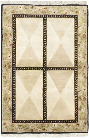 Transitional Ivory Area rug Unique Nepal Hand-knotted 54345