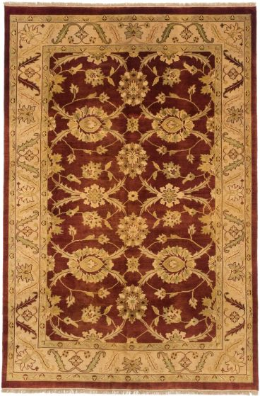 Traditional Orange Area rug 5x8 Indian Hand-knotted 191299