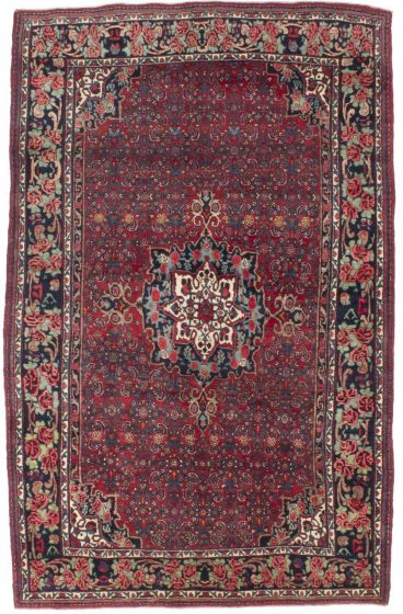 Traditional Red Area rug 5x8 Persian Hand-knotted 206158