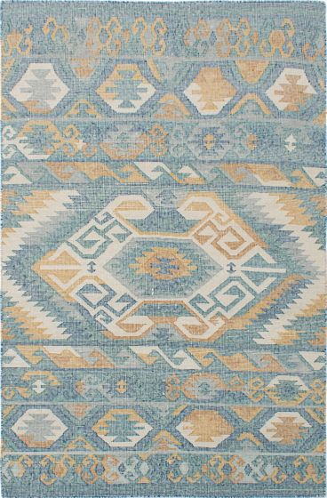 Transitional Green Area rug 5x8 Indian Flat-weave 230537
