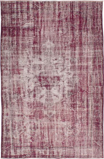Transitional Red Area rug 6x9 Turkish Hand-knotted 231457