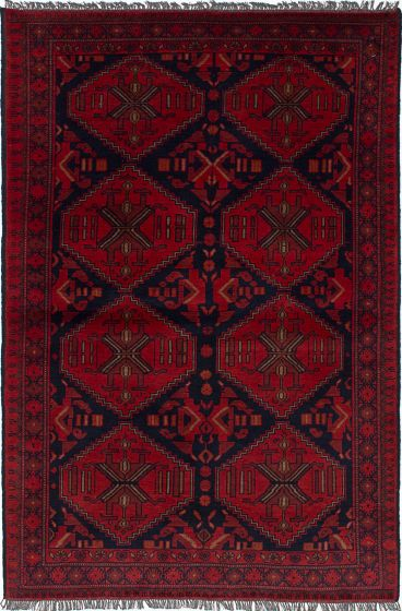 Traditional Red Area rug 3x5 Afghan Hand-knotted 236289
