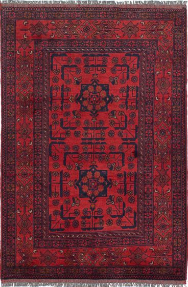 Geometric  Tribal Red Area rug 3x5 Afghan Hand-knotted 238318