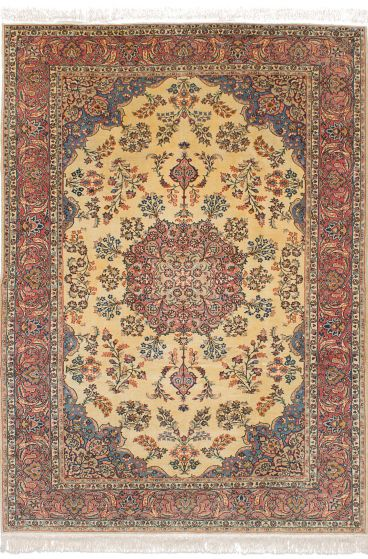 Traditional Ivory Area rug 6x9 Turkish Hand-knotted 244878