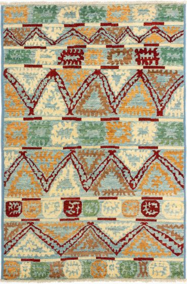 Casual  Transitional Ivory Area rug 5x8 Indian Hand-knotted 280267