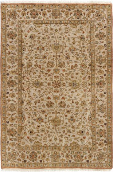 Bordered  Traditional Ivory Area rug 5x8 Indian Hand-knotted 284240