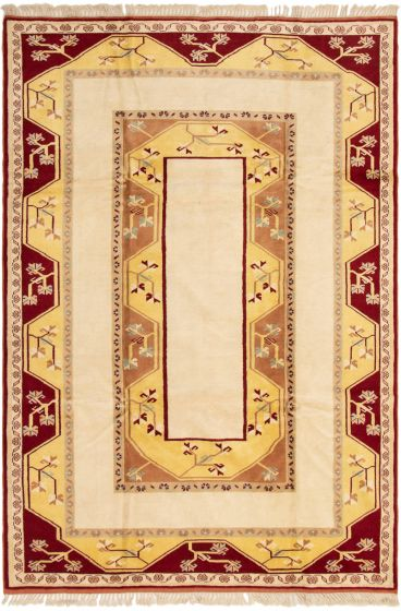 Bordered  Traditional Ivory Area rug 6x9 Turkish Hand-knotted 294008