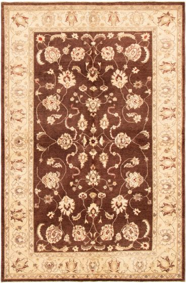 Bordered  Traditional Brown Area rug 5x8 Afghan Hand-knotted 294481