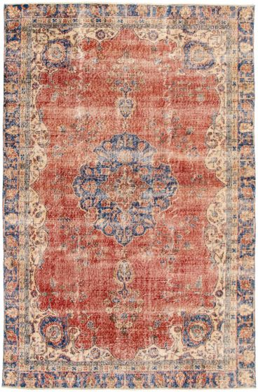 Bordered  Traditional Red Area rug 6x9 Turkish Hand-knotted 328498