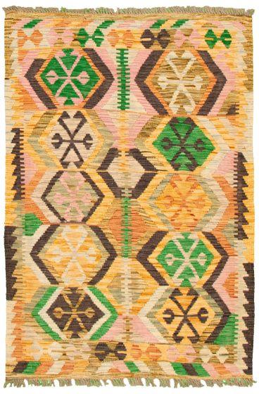Bordered  Flat-weaves & Kilims Yellow Area rug 3x5 Turkish Flat-weave 330170