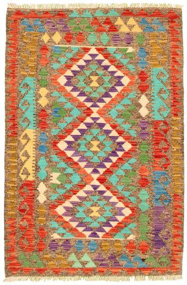 Bordered  Geometric Grey Area rug 3x5 Turkish Flat-weave 330179