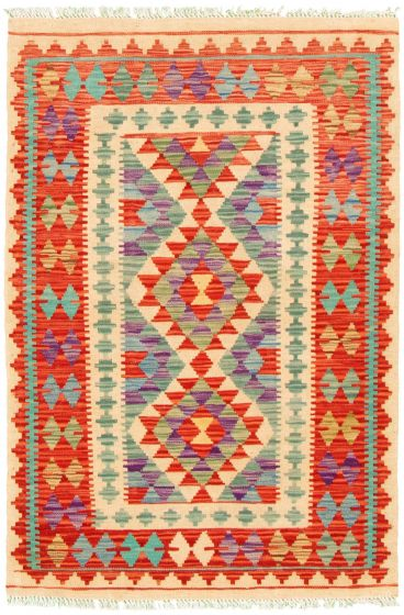 Bordered  Geometric Ivory Area rug 3x5 Turkish Flat-weave 330183