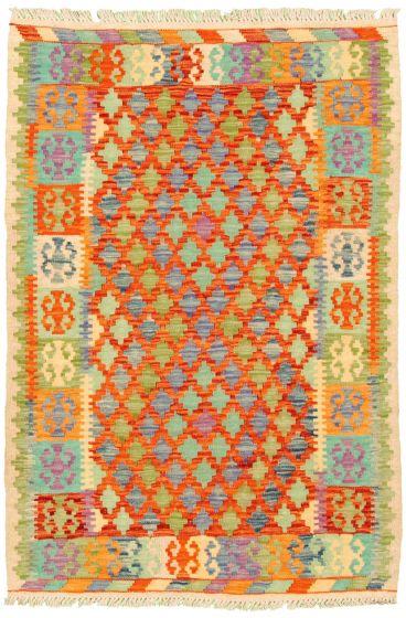 Bordered  Geometric Multi Area rug 3x5 Turkish Flat-weave 330223