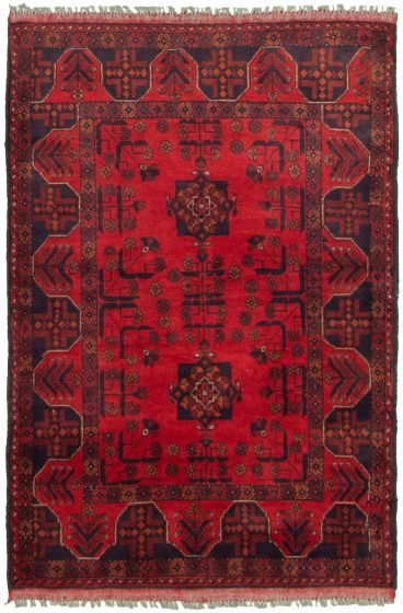 Bordered  Tribal Red Area rug 3x5 Afghan Hand-knotted 330262