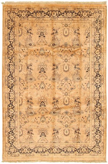 Bordered  Traditional Ivory Area rug 5x8 Pakistani Hand-knotted 330494