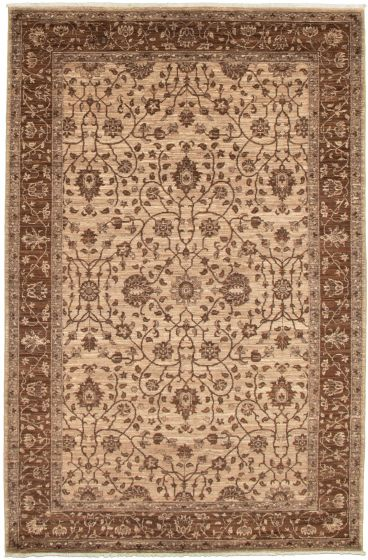 Bordered  Transitional Brown Area rug 5x8 Pakistani Hand-knotted 339017