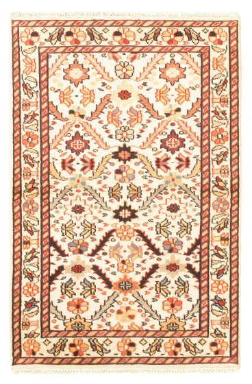 Bordered  Traditional Ivory Area rug 3x5 Indian Hand-knotted 344914