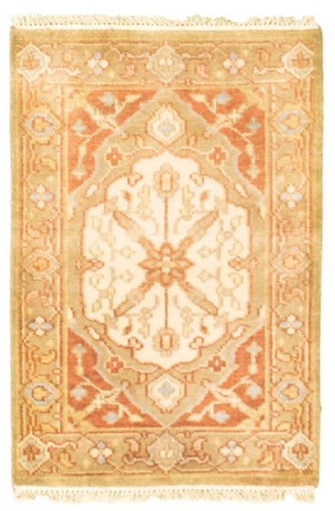 Bordered  Traditional Green Area rug 2x3 Indian Hand-knotted 344925
