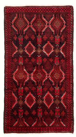 Bordered  Tribal Black Area rug 3x5 Afghan Hand-knotted 334759