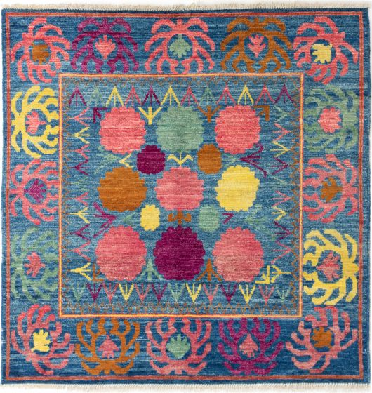 Bordered  Transitional Blue Area rug Square Indian Hand-knotted 280666