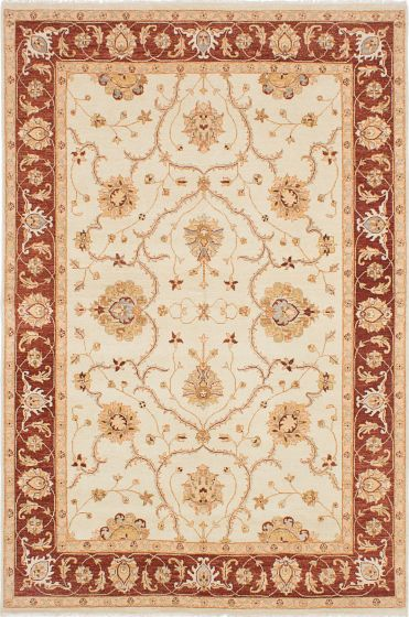 Traditional Ivory Area rug 6x9 Indian Hand-knotted 223892