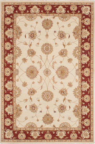 Traditional Ivory Area rug 6x9 Indian Hand-knotted 223945
