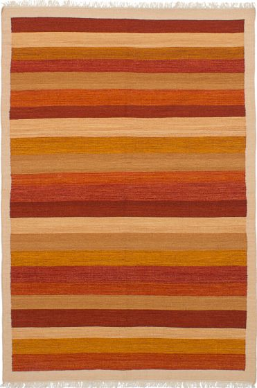 Flat-weaves & Kilims  Transitional Brown Area rug 5x8 Turkish Flat-weave 228430