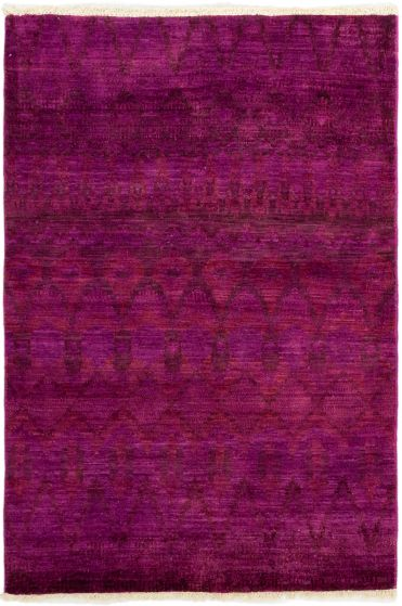 Casual  Transitional Red Area rug 3x5 Indian Hand-knotted 280023