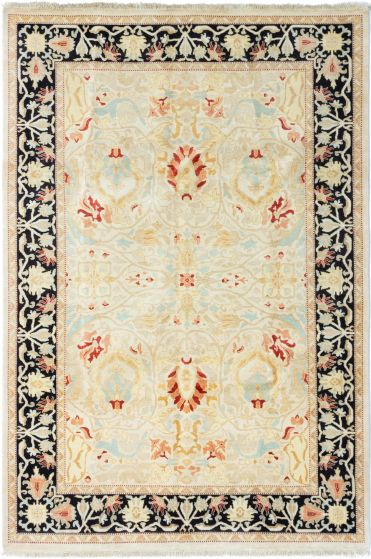 Bordered  Traditional Ivory Area rug 5x8 Pakistani Hand-knotted 280451