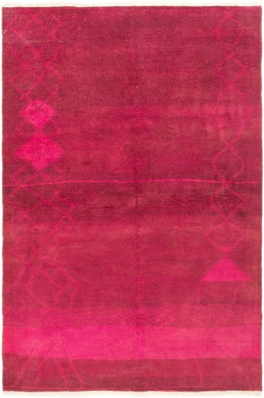 Overdyed  Transitional Red Area rug 5x8 Indian Hand-knotted 280509