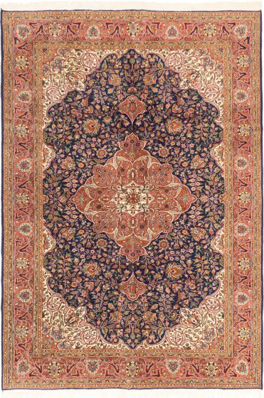 Bordered  Traditional Blue Area rug 6x9 Turkish Hand-knotted 281073
