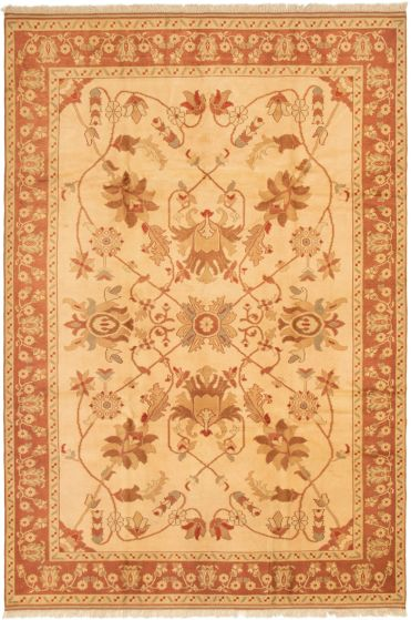 Bordered  Traditional Ivory Area rug 8x10 Turkish Hand-knotted 293211