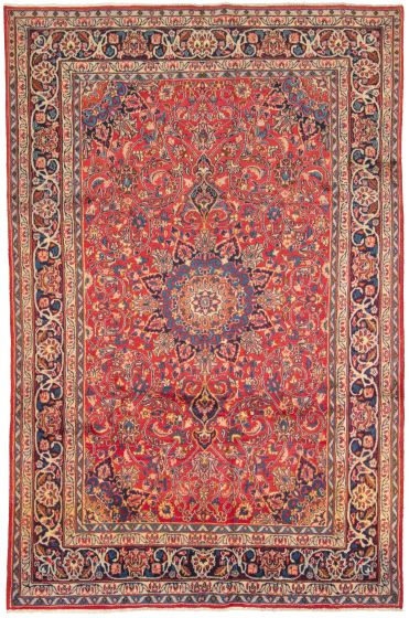Bordered  Vintage Red Area rug 6x9 Persian Hand-knotted 310973