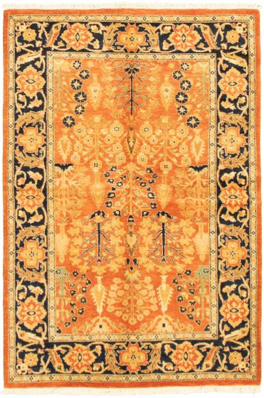 Bordered  Traditional Brown Area rug 4x6 Pakistani Hand-knotted 318536