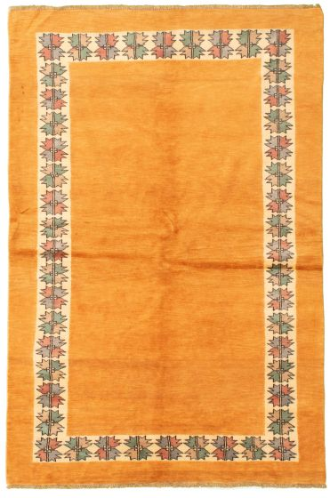 Bordered  Transitional Brown Area rug 5x8 Pakistani Hand-knotted 331476