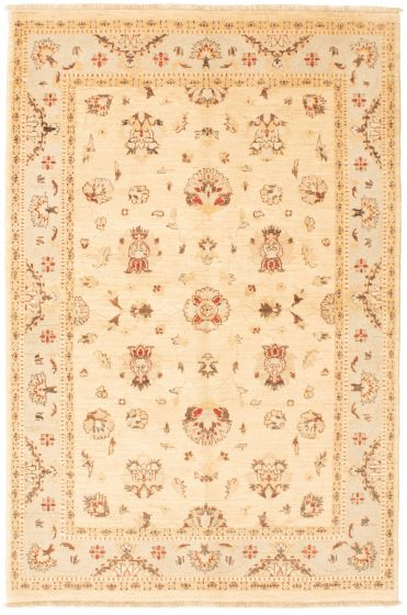 Bordered  Traditional Ivory Area rug 4x6 Afghan Hand-knotted 336343