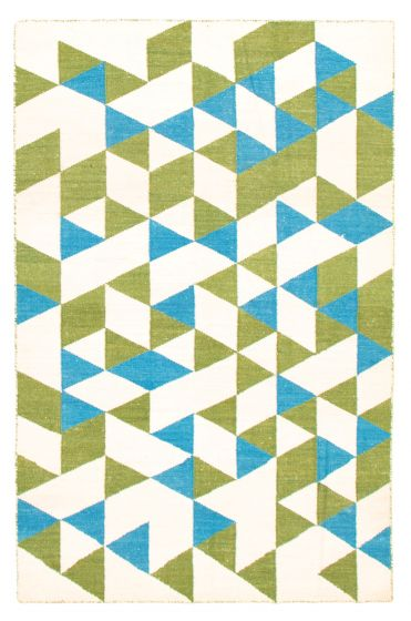 Flat-weaves & Kilims  Transitional Ivory Area rug 5x8 Turkish Flat-weave 344444