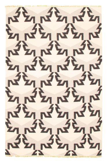 Flat-weaves & Kilims  Transitional Yellow Area rug 5x8 Turkish Flat-weave 344458