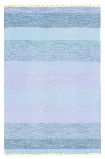 Flat-weaves & Kilims  Transitional Blue Area rug 3x5 Indian Flat-weave 344474