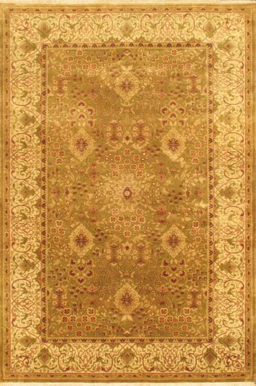 Traditional Ivory Area rug 5x8 Indian Hand-knotted 675