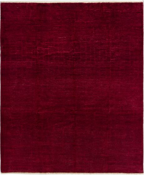 Casual  Transitional Red Area rug 6x9 Indian Hand-knotted 280560