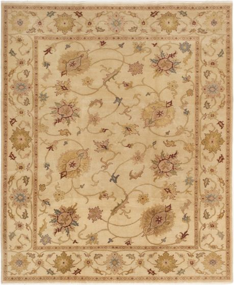 Bordered  Transitional Ivory Area rug 6x9 Turkish Hand-knotted 280775