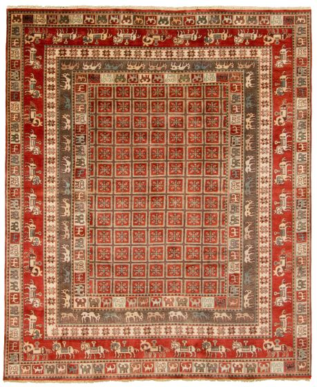 Tribal Red Area rug 6x9 Indian Hand-knotted 313423