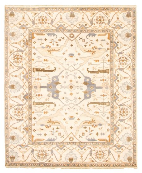 Bordered  Traditional Ivory Area rug 6x9 Indian Hand-knotted 344855